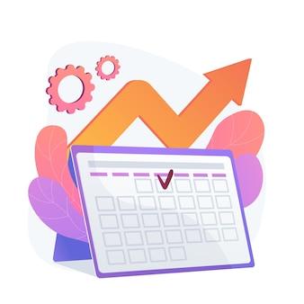 Gestión de eventos. eficiencia del rendimiento, optimización del tiempo, recordatorio. elemento de diseño plano de fecha límite de tareas y proyectos. recordatorio de la fecha de la cita.