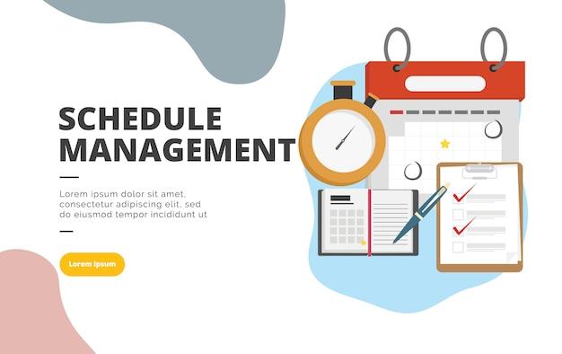 Gestión de horarios de diseño plano ilustración de banner