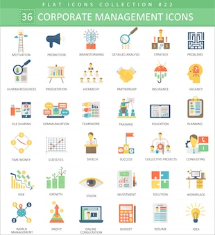 Gestión de los iconos planos de color de gestión.
