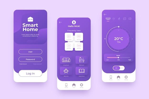 Gestión inteligente del hogar en tonos violetas