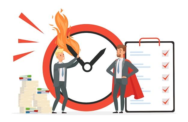 Gestión inteligente del tiempo vs concepto de caos. ilustración de fecha límite con hombres de personaje de dibujos animados