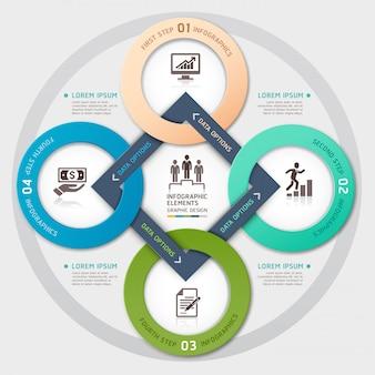Gestión de negocios círculo estilo origami opciones infografía.