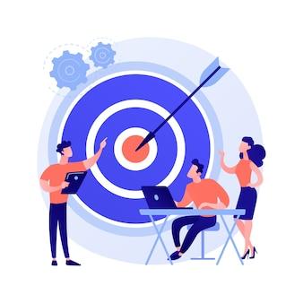 Gestión de personal, definición de perspectivas, orientación a objetivos. organización del trabajo en equipo. coach de negocios, ejecutivo de empresa y personajes de dibujos animados de personal