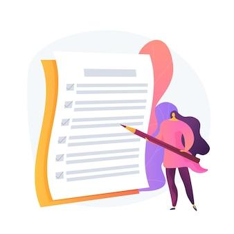 Gestión de proyectos, finalización de objetivos, lista de tareas. respuesta a la encuesta del cuestionario. herramienta de organización empresarial. gerente de oficina con lista de verificación y lápiz.