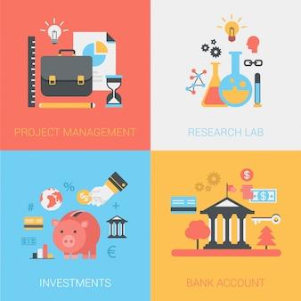 Gestión de proyectos, laboratorio de investigación, inversiones, conjunto de iconos de cuenta bancaria.