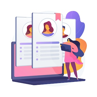 Gestión de recursos humanos. análisis, abastecimiento, selección y selección de puestos. personaje de dibujos animados femenino leyendo solicitudes de empleo y cv de candidatos.