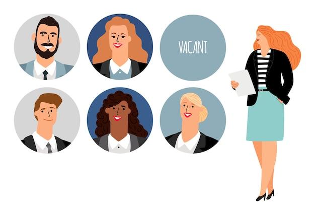 Gestión de recursos humanos. mujer de negocios buscando trabajadores.
