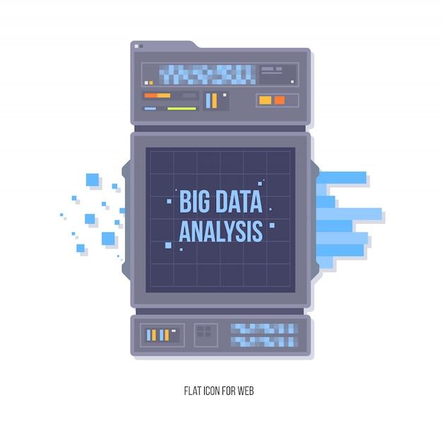 Gestión de redes de datos. visualización de algoritmos de aprendizaje de big data machine. concepto de analítica de seguridad y concepto de seguridad. estilo de ilustración plana