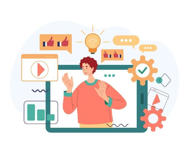 Gestión de redes sociales blogs en línea concepto de influencia web de internet