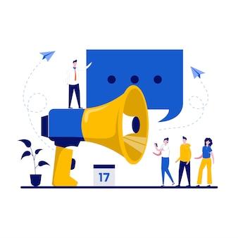 Gestión de relaciones públicas de relaciones públicas y publicidad con campaña de promoción de marketing utilizando un gran altavoz en diseño plano
