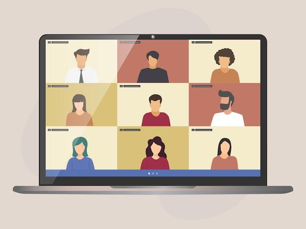 Gestión remota de proyectos de videollamadas en conferencia, cuarentena, trabajo desde casa