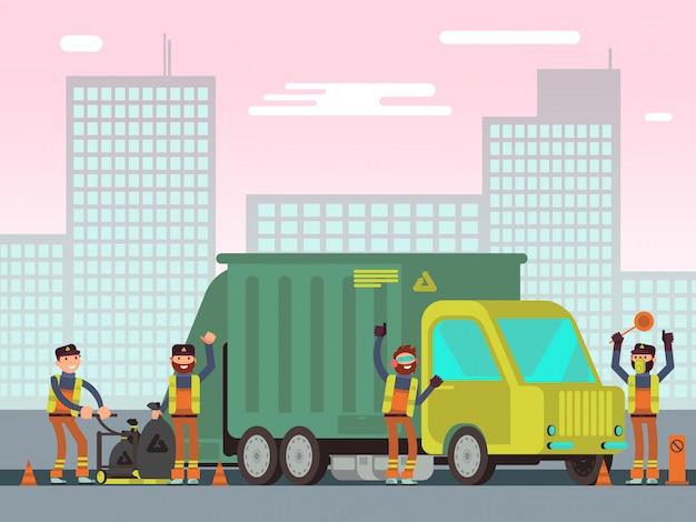 Gestión de residuos y recolección de basura de la ciudad para el reciclaje del concepto de vector con trabajadores de saneamiento