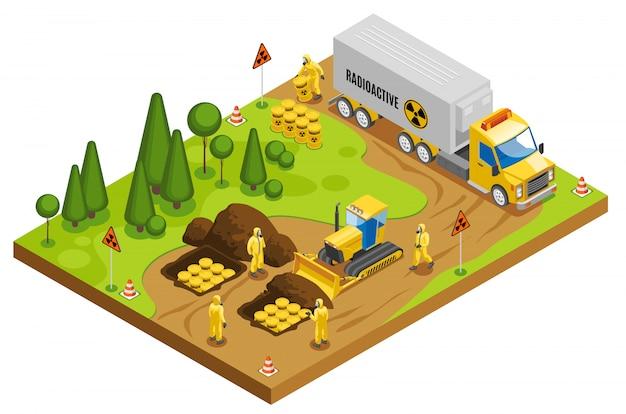 Gestión segura de residuos tóxicos radiactivos, almacenamiento, transporte y eliminación en repositorios geológicos subterráneos composición isométrica