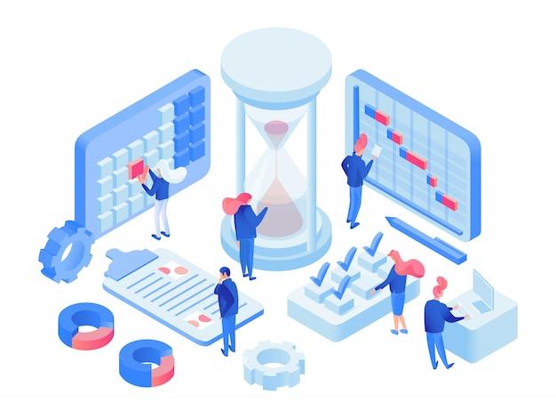Gestión del tiempo 3d laboratorio isométrico