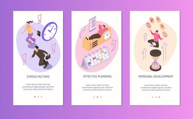 Gestión del tiempo banners verticales conjunto de factores de estrés planificación efectiva desarrollo personal composiciones aisladas isométricas