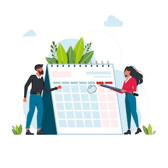Gestión del tiempo y concepto de fecha límite. empresarios que planifican eventos, fechas límite y agenda. calendario, horario, proceso de organización ilustración vectorial plana. concepto de gestión del tiempo para banner