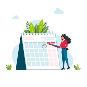 Gestión del tiempo y concepto de fecha límite. mujer de negocios planeando eventos, fechas límite y agenda. calendario, horario, proceso de organización ilustración vectorial plana. concepto de gestión del tiempo para banner
