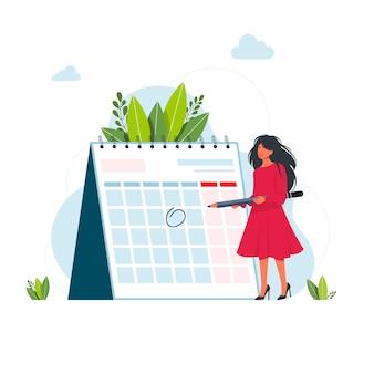 Gestión del tiempo y concepto de fecha límite. mujer de negocios planeando eventos, fechas límite y agenda. calendario, horario, proceso de organización vector de dibujos animados plana concepto de gestión del tiempo para banner