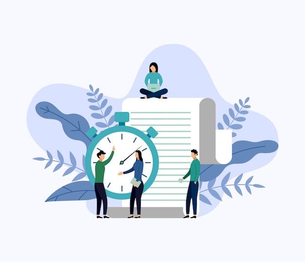 Gestión del tiempo, concepto de planificación o planificador, ilustración de vector de concepto de negocio