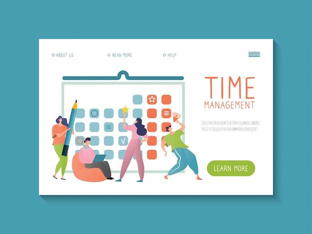 Gestión del tiempo. concepto de plantilla de sitio web para planificación empresarial y colaboración. diseño en ilustración de estilo de dibujos animados.
