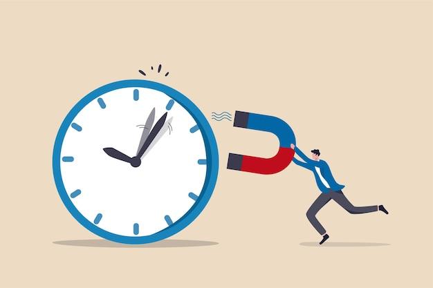 Gestión del tiempo, control del tiempo comercial o concepto de fecha límite de trabajo