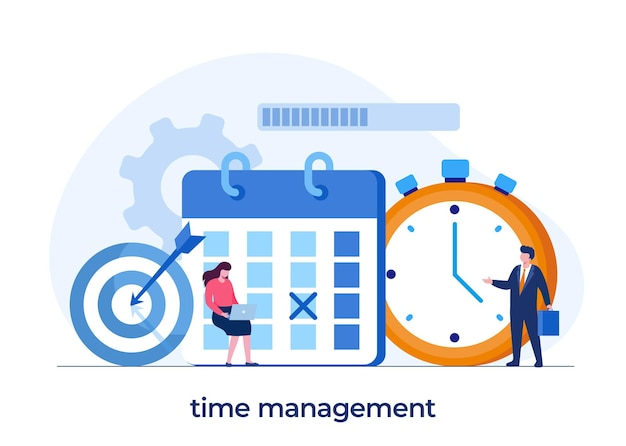 Gestión del tiempo empresarial, concepto de fecha límite, planificador, organizador, recordatorio de tiempo, banner de ilustración vectorial plana