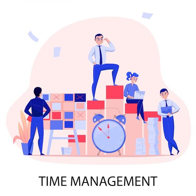 Gestión del tiempo exitoso trabajo en equipo fecha límite superación del estrés con la planificación de tareas control despertador composición plana ilustración vectorial