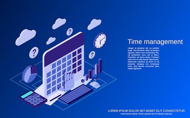 Gestión del tiempo, ilustración de concepto isométrico plano de planificación empresarial