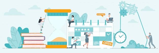 Gestión del tiempo. ilustración efectiva de la planificación de la actividad de la oficina, la gestión del tiempo y la organización del tiempo de trabajo. proyecto y concepto de plazo