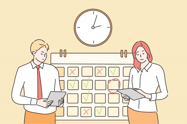 Gestión del tiempo, multitarea, trabajo en equipo, concepto de negocio.