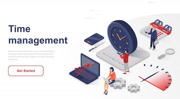 Gestión de tiempo de negocios de la página de inicio isométrica