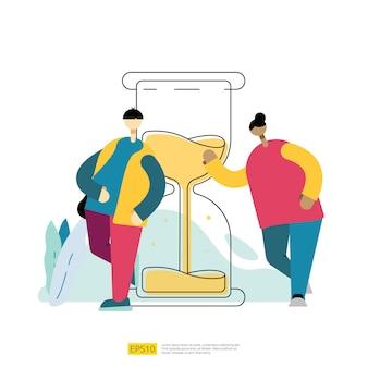 Gestión del tiempo y organización del horario con reloj de arena y personajes de dibujos animados de personas. concepto de fecha límite de la tarea del plan del organizador de la fecha con la ilustración del vector del estilo plano