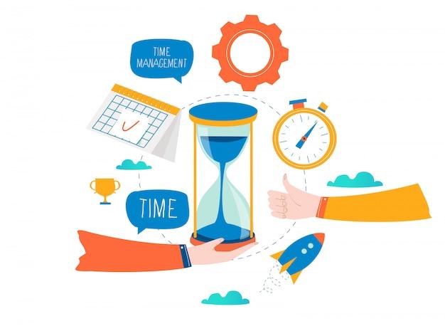 Gestión del tiempo, planificación de eventos, organización empresarial, optimización