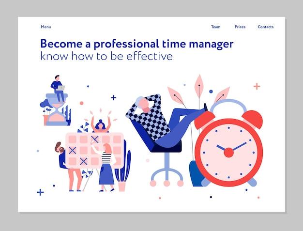 Gestión del tiempo profesional y publicidad de capacitación de planificación efectiva plana con ilustración de programación de tareas de reloj despertador