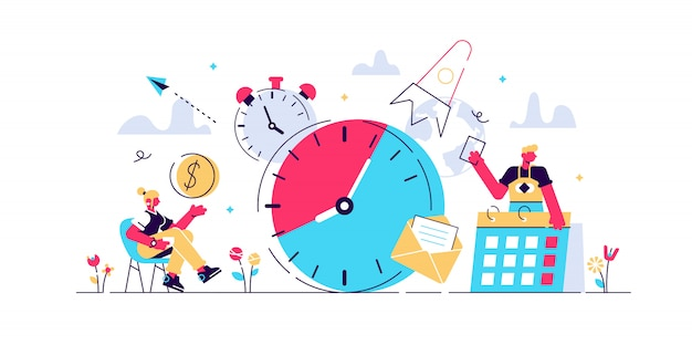 Gestión del tiempo, reloj calendario de trabajo empresarial concepto de página web, banner, presentación, redes sociales, documentos, tarjetas, carteles. ilustraciones de gestión de ilustración, planificación, organización del tiempo