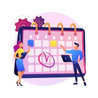 Gestión del tiempo t. método de calendario, planificación de citas, organizador de negocios. gente dibujando marca en personajes de dibujos animados de horario de trabajo. trabajo en equipo de colegas.
