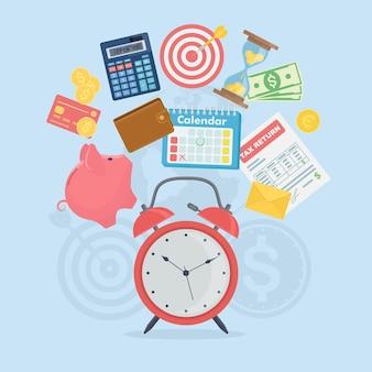 Gestión del tiempo, el tiempo es dinero. planificación, organización. despertador, alcancía, calendario, billetera