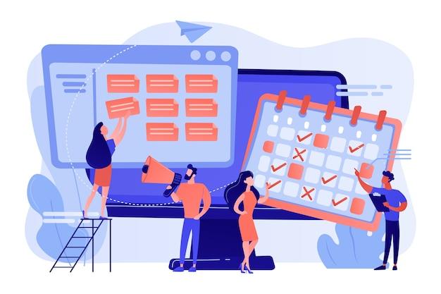 Gestión del tiempo, trabajo en equipo de especialistas en marketing