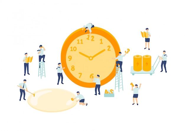 Gestión del trabajo en equipo del empleado del tiempo de trabajo, personal del equipo de montaje en miniatura que las personas pequeñas hacen el reloj, concepto de metáfora empresarial cartel o diseño de banner social, ilustración aislada sobre fondo blanco