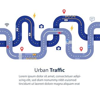 Gestión del tráfico urbano, vista superior de carreteras, recopilación de datos, mejora de la seguridad, navegación y seguimiento de vehículos, ilustración plana