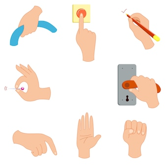 Gesto de la mano mantener presionar botón vector illustration