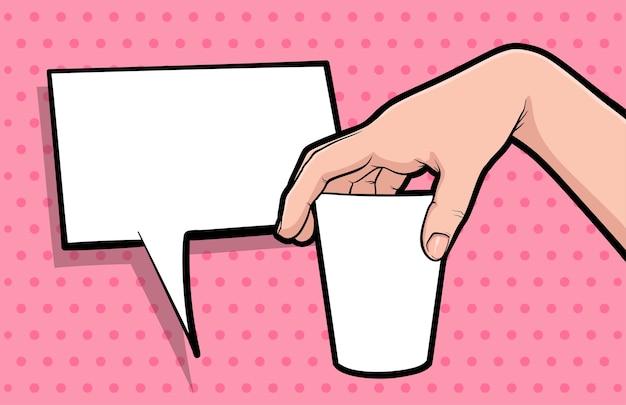 Gesto de mano mantenga taza de café cómic pop art