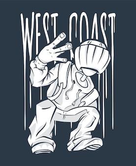 Gesto de la mano de west coast guy hip-hop