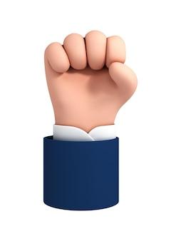 Gesto de puño de mano humana de dibujos animados de vector. imágenes prediseñadas de lucha o protesta aislado sobre fondo blanco. icono de fuerza.