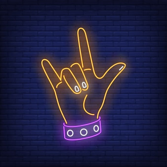 Gesto de rock letrero de neón