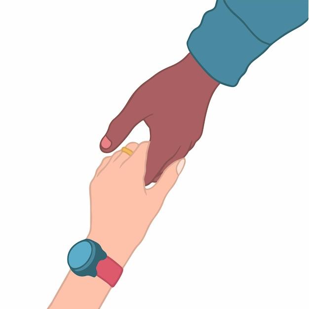 Los gestos de la mano se ayudan entre sí de personas con diferentes colores de piel ilustración de vector dibujado a mano