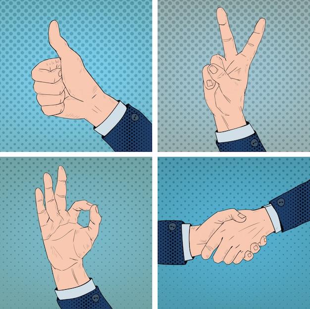 Gestos de la mano establecidos en el estilo cómico del arte pop