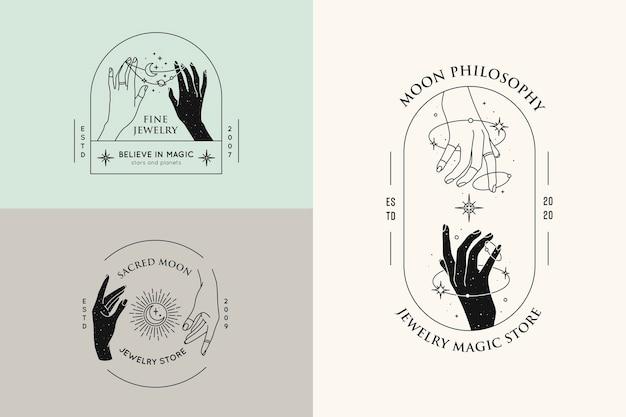 Gestos con las manos conjunto de plantillas de diseño de logotipos en estilo lineal mínimo