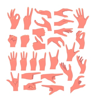 Gestos de las manos icono aislado conjunto concepto de colección