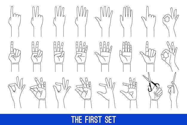 Gestos de manos de mujer describen los iconos. conjunto de iconos de vector lineal de manos de damas